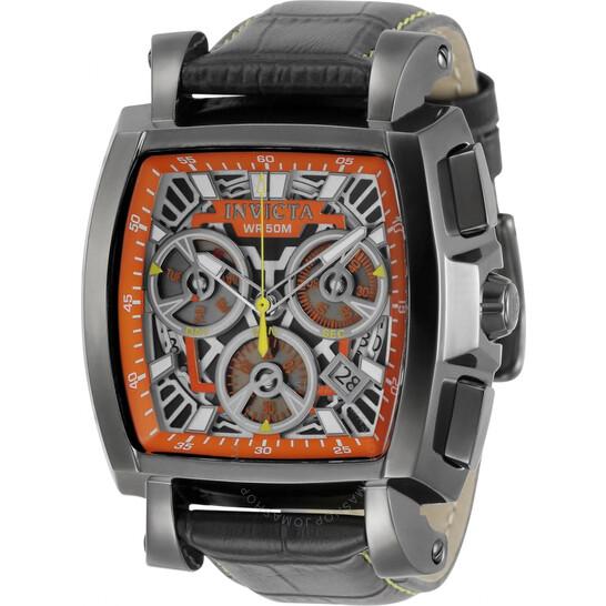 Invicta Cuadro Chronograph Quartz Orange Skeleton Dial Men's Watch 32165 | Joma Shop
