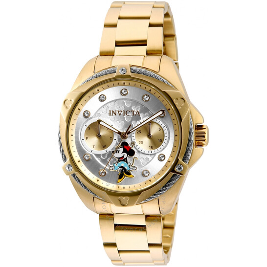 Invicta Disney Limited Edition Minnie Mouse Quartz Crystal Silver Dial Ladies Watch 32438   Joma Shop