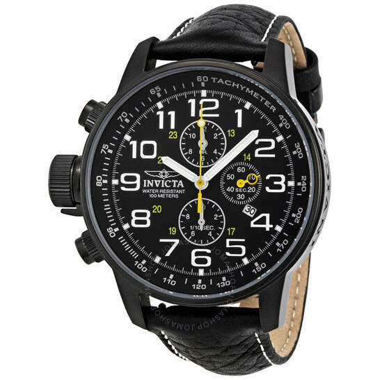 Invicta Lefty Chronograph Black Dial Black Leather Men's Watch 3332 | Joma Shop