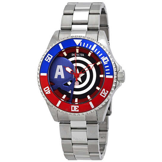 Invicta Marvel Captain America Quartz Pepsi Bezel Men's Watch 29680   Joma Shop