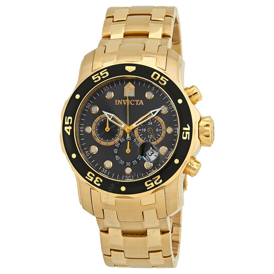 Invicta Pro Diver Chronograph Charcoal Dial Gold Ion-plated Men's Watch   Joma Shop