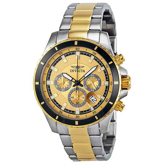 Invicta Pro Diver Chronograph Gold Dial Two-tone Men's Watch 12456   Joma Shop