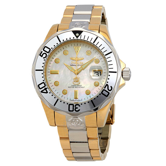 Invicta Pro Diver White Mother of Pearl Dial Two-tone Men's Watch 16035 | Joma Shop