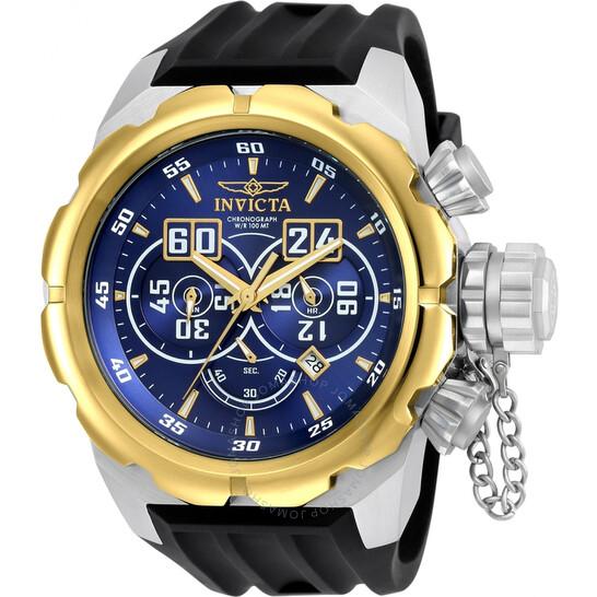 Invicta Russian Diver Chronograph Blue Dial Black Silicone Men's Watch 21630   Joma Shop