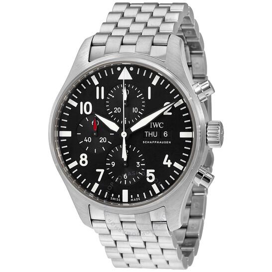 Iwc Pilot Automatic Chronograph Black Dial Men's Watch IW377710 | Joma Shop