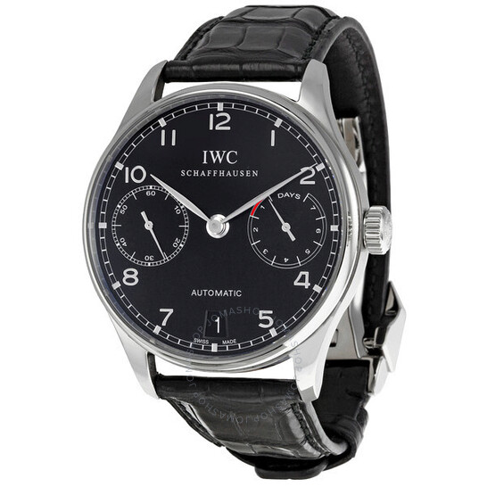 Iwc Portuguese Automatic Black Dial Black Leather Men's Watch IW500109 | Joma Shop