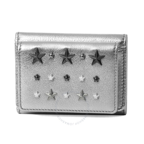 Jimmy Choo Ladies Nemo Silver Leather Wallet With Crystal Stars