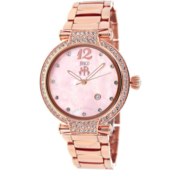 Jivago Bijoux Pink Mother of Pearl Dial Ladies Watch JV2219 | Joma Shop