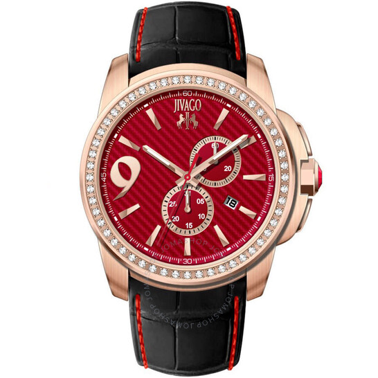 Jivago Gliese Red Dial Black Leather Men's Watch JV1534 | Joma Shop