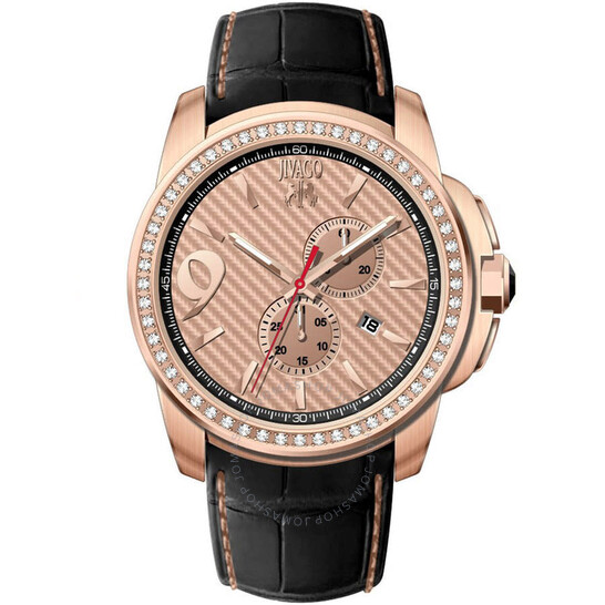 Jivago Gliese Rose Gold Dial Black Leather Men's Watch JV1535 | Joma Shop