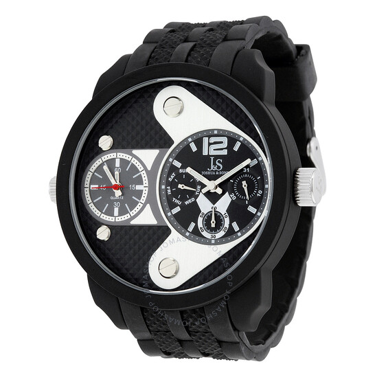 Joshua And Sons Multi-Function Black Dial Black Silicone Men's Watch JS52BK | Joma Shop