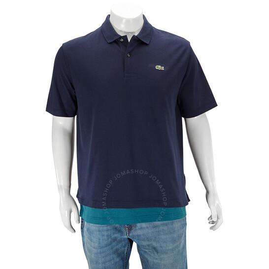 Lacoste Unisex Loose Fit Trompe-l'oeil Pique Polo Shirt