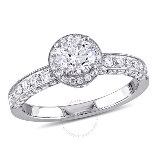 Laura Ashley 1 1/2 CT Round Halo Engagement Ring- Size 5 JMS003997-0500 | Joma Shop