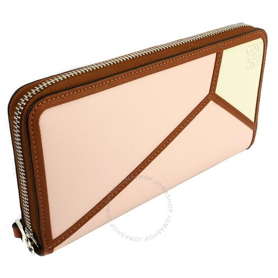 Loewe Ladies Pink Puzzle Zip Around Wallet
