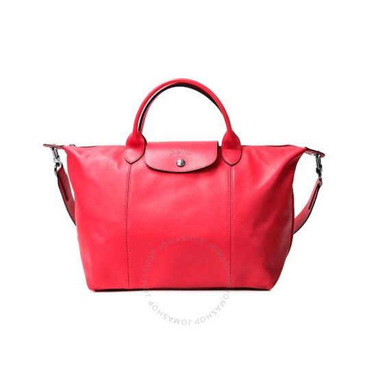 Longchamp Ladies Le Pliage Cuir Top Handle Bag M-Red