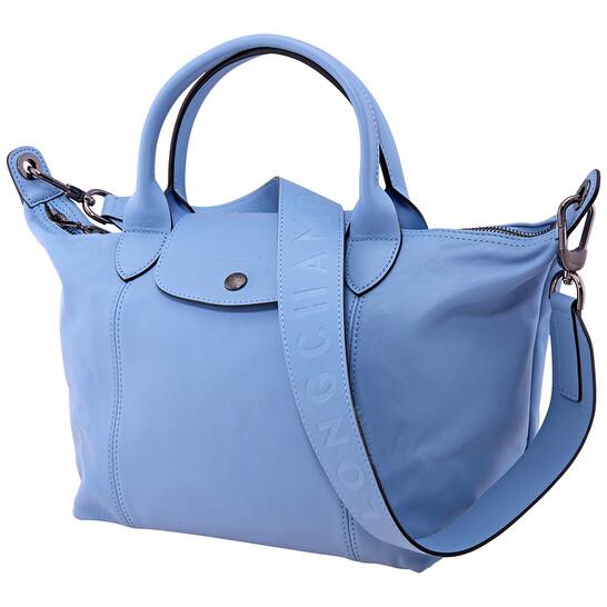 Longchamp Ladies Le Pliage Cuir Top Handle Bag S-Blue