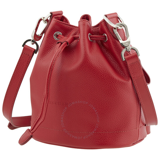 Longchamp Ladies Navy Le Foulonne Bucket Bag S in Red