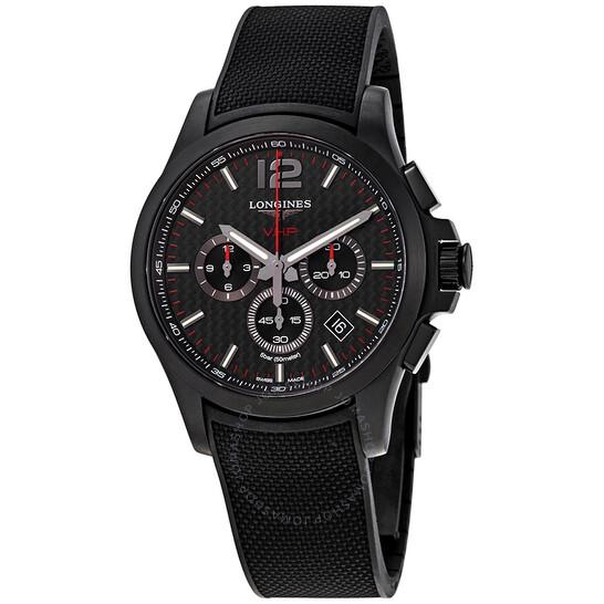 Longines Conquest V.H.P. Perpetual Chronograph Quartz Black Carbon Dial Men's Watch L3.727.2.66.9 | Joma Shop