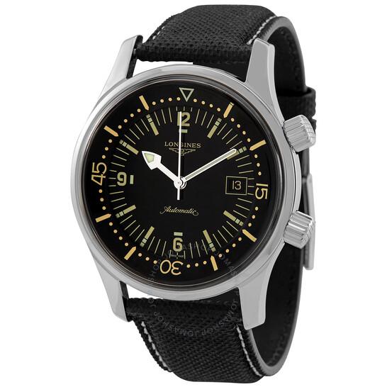Longines Legend Diver Automatic Black Dial Men's Watch L37744500   Joma Shop