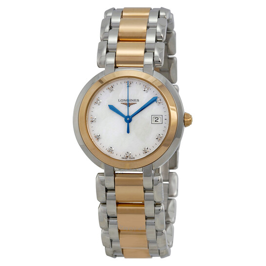 Longines Primaluna White Mother of Pearl Stainless Steel and 18kt Rose Gold Dial Ladies Watch L8.112.5.87.6   Joma Shop