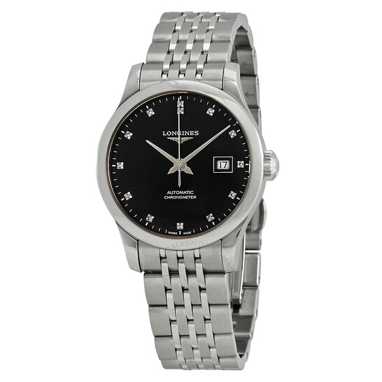 Longines Record Automatic Chronometer Diamond Black Dial Ladies Watch L2.321.4.57.6 | Joma Shop