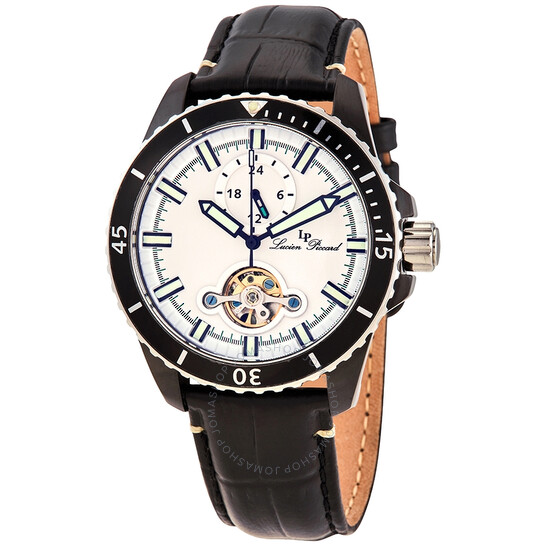 Lucien Piccard Automatic White Dial Black Leather Men's Watch 1298A4 | Joma Shop