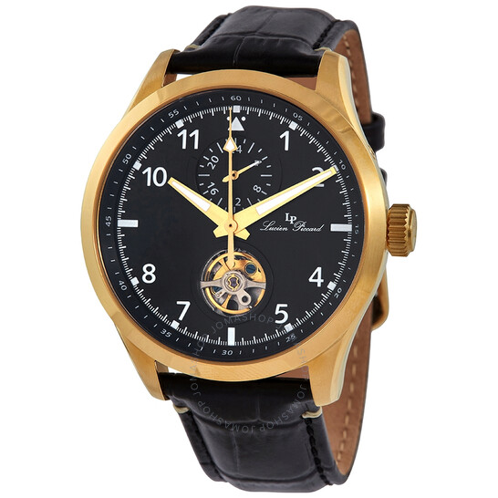 Lucien Piccard GMT Open Heart Automatic Black Dial Men's Watch 1295A4   Joma Shop