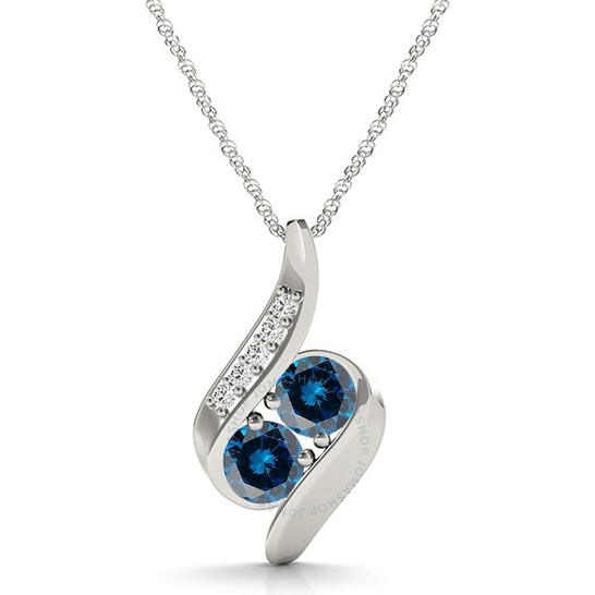 """Maulijewels 1/4 Carat Natural Blue & White Diamond/ Two Stone/ 18"""" Pendant In 14K White Gold With 18"""" 14k White Gold Plated Sterling Silver Box Chain 