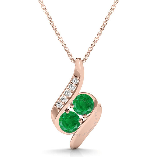 """Maulijewels 1.00 Carat Round Emerald & White Diamond Gemstone Pendant In 14K Rose Gold With 18"""" 14k Rose Gold Plated Sterling Silver Box Chain 