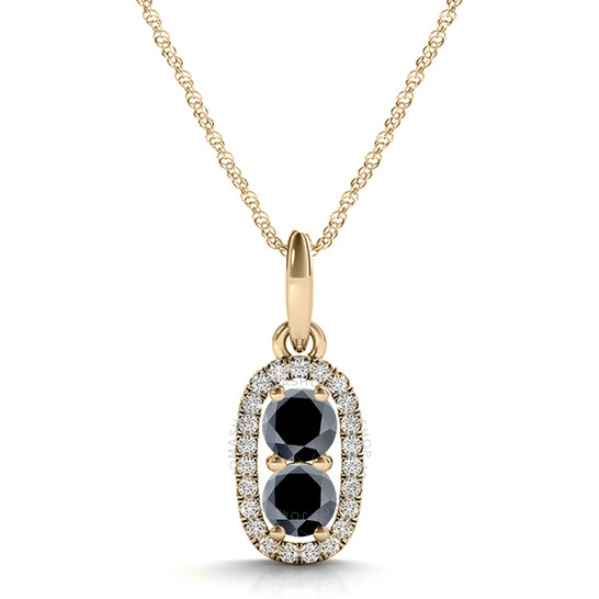 """Maulijewels 14K Yellow Gold 1.25 Ct Black & White Diamond Pendnat Necklace With 18"""" 14k Yellow Gold Plated Sterling Silver Box Chain   Joma Shop"""