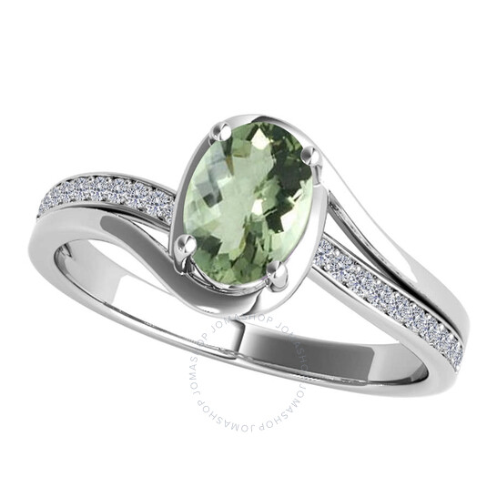 Maulijewels Ladies 10k White Gold 1.3 CT Oval Cut Green Amethyst Split Shank Ring | Joma Shop