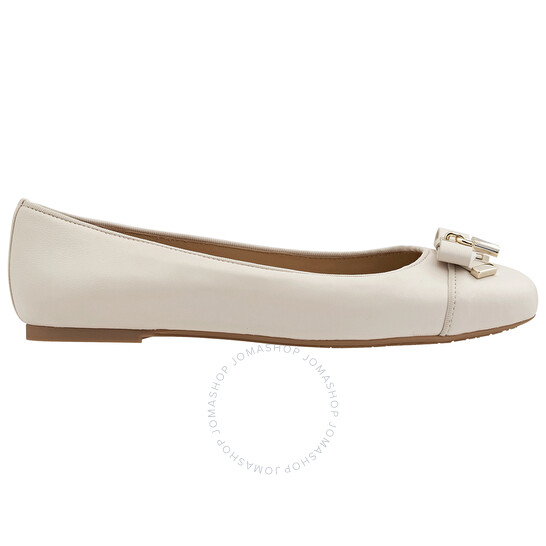 Michael Kors Ladies Alice Leather Ballet Flats in White