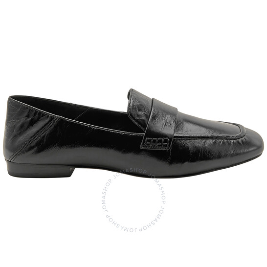 Michael Kors Ladies Black Emory Leather Foldover Loafers