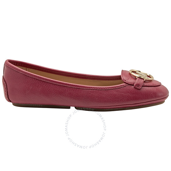 Michael Kors Ladies Red Lillie Leather Moccasin