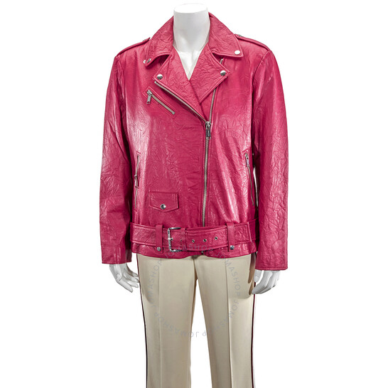Michael Kors Ladies Crinkled Leather Moto Jacket