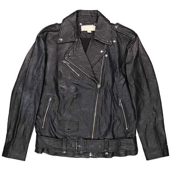 Michael Kors Ladies Crinkled Leather Moto Jacket in Black