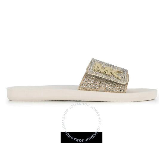 Michael Kors Ladies Crystal Embellishment MK Slides