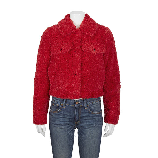 Michael Kors Ladies Faux Sherpa Trucker Jacket In Red