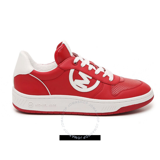 Michael Kors Ladies Gertie Leather Lace-Up Sneakers In Red/White