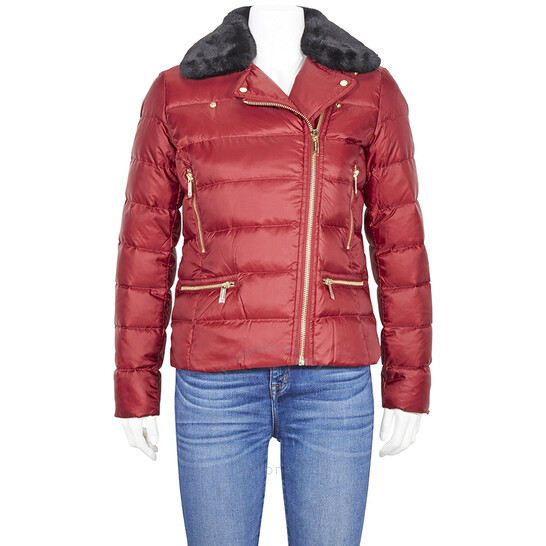 Michael Kors Ladies Maroon Short Zip-Up Padded Jacket