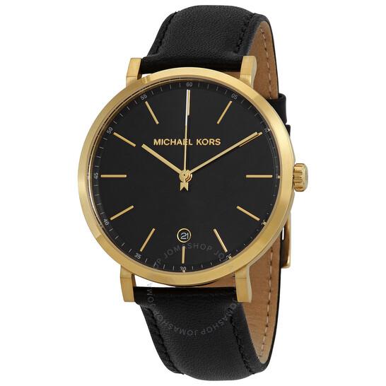 Michael Kors Quartz Black Dial Black Leather Ladies Watch MK8737 | Joma Shop
