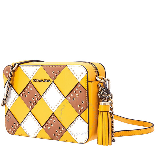 Michael Kors Zip Top Camera Cross-Body Bag- Yellow/Multi