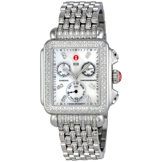 Michele Deco Day Chronograph Stainless Steel with Diamonds Ladies Watch MWW06P000116 | Joma Shop