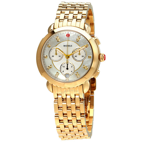 Michele Sidney White  Mother of Pearl Diamond Dial Ladies 18k Gold-Plated Watch MWW30A000019 | Joma Shop