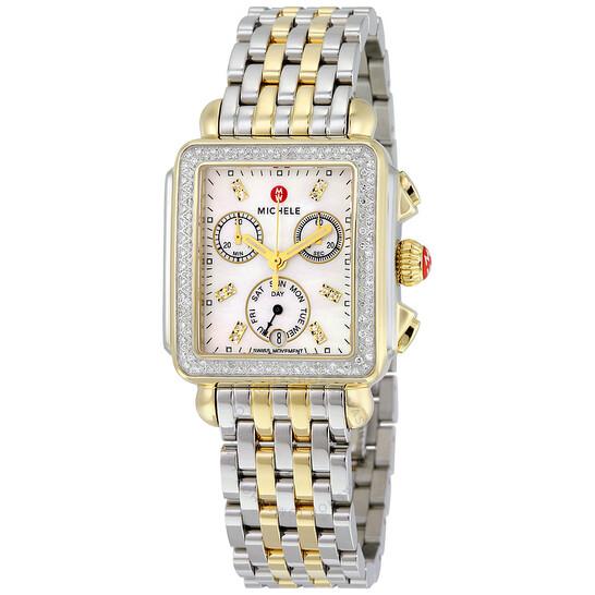 Michele Signature Deco Chronograph Diamond Ladies Watch MWW06P000108   Joma Shop