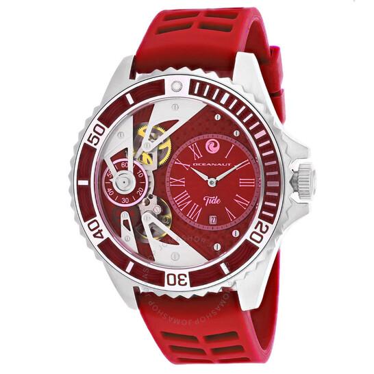 Oceanaut Tide Quartz Red Dial Red Rubber Men's Watch OC0993 | Joma Shop