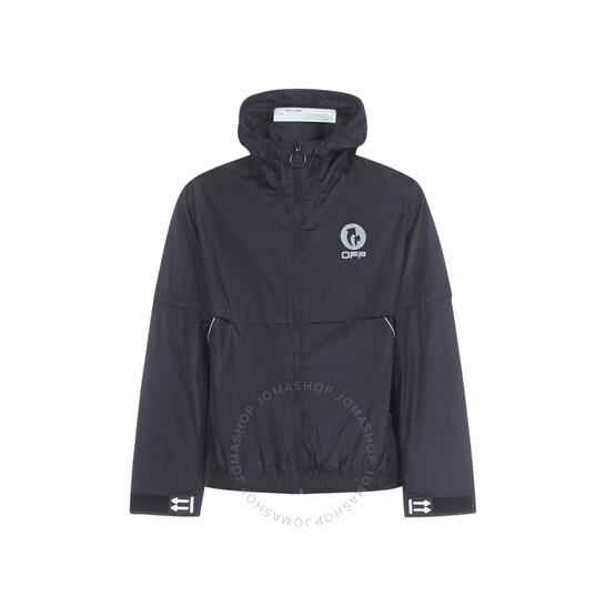 Off-White Black / Silver Logo Hooded Windbreaker