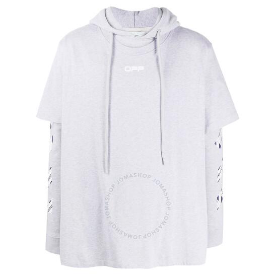 Off-White Grey Melange Layered-effect Logo Hoodie