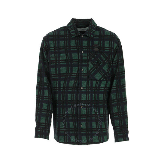 Off-White Mint Green Checked Flannel Shirt