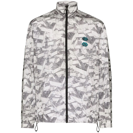 Off-White Multicolor Patterned Zipped Track Jacket